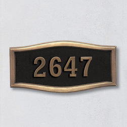 """Frontgate - Ethan Address Plaque Large - Black/Antique - Crafted of durable cast aluminum. Available in five color options to complement any décor. Arrives ready to hang. Numbers are 3-1/2""""H on both plaque sizes. Please check for accuracy; personalized orders cannot be modified, cancelled, or returned after being placed. The Ethan Address Plaque displays your home's address in bold, easy-to-read numbers and is designed to withstand all types of harsh weather.. Available in five color options to complement any decor. . . . Plaques are shipped with a template and instructions to line them up on the wall or surface where they will be mounted. In addition, each plaque is shipped with a drill bit and two stainless steel screws. The drill bit starts a pilot hole for the 2-1/2"""" screws, which are then screwed about 2"""" into the wall. The plaque is then put onto the screws. Additionally, clear silicon may be applied to the back of the plaque to make the installation more """"permanent"""", if desired."""