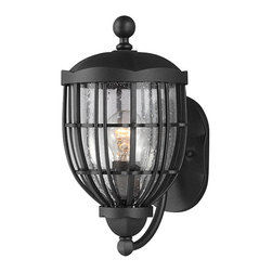 Feiss - River North Textured Black One-Light 13.38-Inch High Outdoor Wall Lantern - - The Feiss River North one light outdoor wall fixture in textured black creates a warm and inviting welcome presentation for your home's exterior  - Cord Color: Black and White  - Glass Description: Clear Seedy Glass  - Back plate Dimension: 0.88-Inch D x 7.88-Inch Center of outlet box up x 4.5-Inch Center of outlet box down - Oval Canopy  - Bulb not included Feiss - OL9801TXB