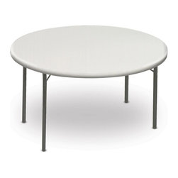 ICEBERG - IndestrucTable TOO 1200 Series 60 in. Round Folding Table in Platinum Finish - Strong and durable. Flexible. Multi-purpose utility. Resin construction. Lightweight. Easy to transport, set-up and store. 2 in. thick top has a soft, 1 in. beveled radius edge. Top supported by uniquely designed steel frame. Heavy duty 1 in. round powder coated steel tube legs with bracing. Legs include non-mar plastic feet. Legs fold into protective cavity for compact storage. Washable, dent and scratch resistant. Accommodates large, evenly distributed loads. Contemporary design. Applicable for indoor or outdoor use. Table top made from blow molded high density polyethylene. Made in USA. Weight Capacity: 600 lbs.. 60 in. Dia. x 29 in. HThe ultimate in durability, design and function, IndestrucTables are ideal for use in offices, banquets or any temporary work environment. This professional looking, lightweight folding table has many unique features and finishes and will last for many years – and still look as good as new!