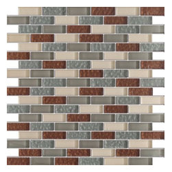 Vintrav Sienna & Grey 1/2 in. x 2 in. Glass Mosaic Tiles, Sheet - Vintrav Sienna & Grey 1/2 in. x 2 in. Glass Mosaic Tiles for Bathroom Floor, Kitchen Backsplash, unmatched quality.