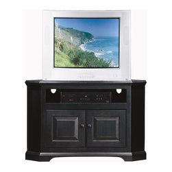 Eagle Furniture Manufacturers - Savannah 2 Doors Corner TV Stand (Black) - Finish: Black. Two raised panel doors. Decorative molding. Warranty: Eagle's products are guaranteed against material defects for one year from date of delivery to the dealer. Made in USA. No assembly required. 41.25 in. W x 23 in. D x 27 in. H (61.3 lbs.)The Savannah collection offers style from a bygone era. Raised panel wooden doors, pewter hardware, heavy arched molding and hardwood frames make for an elegant design, available in painted or rich stained finishes