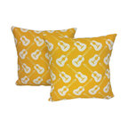 RoomCraft - Yellow Guitars Throw Pillow Covers 16x16 Instrument Shams - FEATURES: