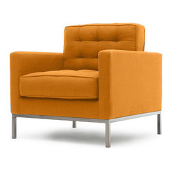 Thrive Furniture - Sullivan Mid Century Modern Chair - Klein Citrus Orange - The Sullivan Chair is a mid century modern reporduction.  Customize yours with over 30 fabric and leather options and 3 wood finishes.  Made in the USA. Ask for Free fabric samples!  Items are custom made-to-order and shipped in 7 business days.