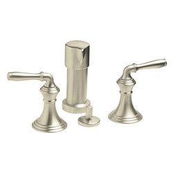 """Kohler - Kohler K-412-4-BN Brushed Nickel Devonshire Devonshire Vertical Spray - Devonshire(R) Vertical Spray Bidet Faucet with Lever Handles With two stylish lever handles, a vertical spray and a variety of lustrous KOHLER finish options, this Devonshire bidet faucet offers decorative versatility for any bathroom. Equally appealing is that this faucet is designed for easy installation, saving you time and money.  Solid brass construction ensures years of reliable performance Finger tight hoses allow installation on 8"""" to 16"""" centers Pop-up drain with 1-1/4"""" tailpiece Fixture-mount transfer valve/vacuum breaker with vertical spray"""