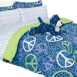 Bed In A Bag - Girls Kids Bedding - Annie Blue Leopard Bed in a Bag Comforter Set - Turn your child's room into a fun space with this Blue Leopard comforter set. This set features a leopard print on a blue background with brightly colored peace signs in white, green and purple.