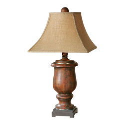 Uttermost Kezia Wood Table Lamp - Distressed cinnamon colored wood finished in a light verdigris glaze with champagne silver accents. Distressed cinnamon colored wood finished in a light verdigris glaze with champagne silver accents. The round top, square bottom shade is a coarse weave burlap fabric.