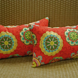 None - Blazing Needles 12 x 20-inch Rectangular Throw Pillows (Set of 2) - Lend a pop of color to your outdoor living space with these Blazing Needles rectangular throw pillows. Constructed of durable,weather resistant 100-percent spun polyester,these comfortable pillows are the perfect accent to your patio furniture.