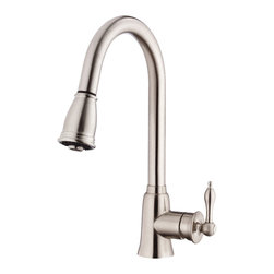 "Danze - Danze D454510SS Kitchen With Pull Down Stainless Steel - Danze D454510SS Stainless Steel Single Handle Pull-Down Kitchen Faucet is part of the Prince Kitchen collection.  D454510SS Pull-Down Kitchen Faucet single hole mount has a 9 1/2"" long and 16"" high spout, with 2 functions spray/aerated stream.  D454510SS Single lever handle meets all requirements of ADA.  California and Vermont compliant."
