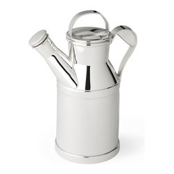 Reed & Barton - Silver-Plated Milk Can Cocktail Shaker - An original highly coveted large silver-plated milk can cocktail shaker design by Reed & Barton. Features a handled cap and removable cork stopper.