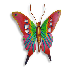 Zeckos - Brightly Painted Pink / Orange Metal Butterfly Wall Hook - This beautiful metal butterfly wall hook features bright orange, pink, green, yellow, blue and red enamel paints. It measures 7 1/2 inches tall, 6 1/4 inches wide and about 1 1/2 inches deep. The hook can hold up to 10 pounds. It'll add a splash of color to any room, and makes a great gift for butterfly lovers. Note: These are hand-painted, one at a time, and there may be slight differences in color and pattern from the one pictured.