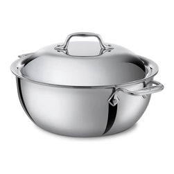 All-Clad Stainless Steel 5.5 Qt. Dutch Oven w/Lid - Prepare flavorful slow-cooked meals in a single pot with the All-Clad 5.5-Quart Chef Series Dutch Oven. Made for braising  stewing  browning  and slow cooking  this large-capacity Dutch oven has a domed lid designed for returning moisture and flavor to your meal. The round bottom features All-Clad's stick-resistant starburst finish  and the three-ply stainless steel construction distributes heat evenly. Safe to use on all cooktops  this Dutch oven comes with eight recipes created and tested by All-Clad's elite chef partners.  Product Features      Round bottom that facilitates effortless stirring without sticking   Domed lid is specially designed to retain moisture   Tri-ply 18/10 stainless construction diffuses heat consistently   Induction capable   Dishwasher and oven safe