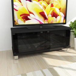 """dCOR design - Holland 44"""" TV Stand - Features: -Convenient adjustable shelves.-Safety tempered glass doors.-Cable management system.-TV Size Accommodated: Accomodates up to 48"""" TV.-Finish: Midnight black lacquer.-Powder Coated Finish: No.-Gloss Finish: No.-Material: Engineered wood & tempered glass.-Number of Items Included: 1.-Solid Wood Construction: No.-Distressed: No.-Exterior Shelves: No.-Cabinets: Yes -Number of Cabinets: 2.-Number of Doors: 2.-Number of Interior Shelves: 4..-Scratch Resistant: No.-Casters: No.-Accommodates Fireplace: No.-Fireplace Included: No.-Lighted: No.-Media Storage: Yes.-Cable Management: Yes.-Remote Control Included: No.-Batteries Required: No.-Weight Capacity: 150 lbs maximim TV weight.-Swatch Available: Yes.-Commercial Use: No.-Collection: Holland.-Recycled Content: No.-Lift Mechanism: No.-Expandable: No.-TV Swivel Base: No.-Integrated Flat Screen Mount: No.-Hardware Material: Metal.-Non-Toxic: No.-Country of Manufacture: Canada.Specifications: -ISTA 3A Certified: No.-CARB 2 Certified: Yes.-CARB Certified: Yes.-FSC Certified: No.-General Conformity Certified: No.-CSA Certified: No.-EPP Certified: No.Dimensions: -Overall Height - Top to Bottom: 21.75"""".-Overall Width - Side to Side: 44"""".-Overall Depth - Front to Back: 15.75"""".-Shelving: -Shelf Height - Top to Bottom: 7"""".-Shelf Width - Side to Side: 21"""".-Shelf Depth - Front to Back: 13.75""""..-Cabinet: -Cabinet Interior Height - Top to Bottom: 14.5"""".-Cabinet Interior Width - Side to Side: 21"""".-Cabinet Depth - Front to Back: 13.75""""..-Legs: Yes.-Overall Product Weight: 57 lbs.Assembly: -Assembly Required: Yes.-Tools Needed: Screwdriver.-Additional Parts Required: No.Warranty: -Product Warranty: 1 year warranty."""