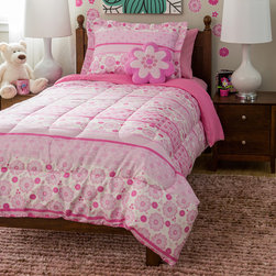 None - Kids Collection Ditsy Bloom 4-Piece Comforter Set - Turn your child's bedroom into a garden with this delightful comforter set and shaped fleece decorative pink flower pillow. This machine washable bedding set is made of brushed polyester,which is comfortable as well as easy care and wrinkle-resistant.