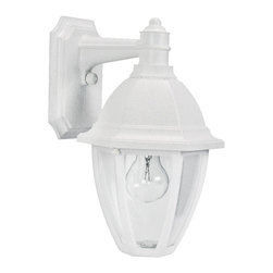 "Lamps Plus - Transitional Everstone 13 3/4"" High White Outdoor Wall Lantern - This wonderful Whitestone finish small outdoor wall fixture carries the exclusive Oceanside Approved designation and is uniquely designed to withstand coastal elements with no adverse effects to the finish. Fiber-reinforced construction will look the same in 10 years as the day it is installed. A clear acrylic lens protects the lamp. All mounting hardware inserts and thumbscrews are non-corrosive nylon. From Maxim Lighting. Small outdoor wall lantern. Whitestone finish. Non-corrosive fiber-reinforced polymer construction. Clear acrylic lens. One max 60 watt bulb (not included). UL listed. 13 3/4"" high. 8 1/2"" wide. Extends 9 1/4"". Back plate is 5 1/2"" wide 7 1/4"" high. Mounting point to top is 3 3/4"".  Small outdoor wall lantern.  Whitestone finish.  Non-corrosive fiber-reinforced polymer construction.  Clear acrylic lens.  One max 60 watt bulb (not included).  13 3/4"" high.  8 1/2"" wide.  Extends 9 1/4"".  Back plate is 5 1/2"" wide 7 1/4"" high.  Mounting point to top is 3 3/4""."