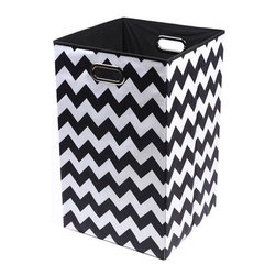 None - Bold Chevron Folding Laundry Basket - Keep laundry tidy,organized and add a pop of colorful decor to a room with this folding laundry bin.
