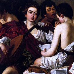 """Caravaggio  The Concert - 18"""" x 24"""" Premium Archival Print - 18"""" x 24"""" Caravaggio  The Concert premium archival print reproduced to meet museum quality standards. Our museum quality archival prints are produced using high-precision print technology for a more accurate reproduction printed on high quality, heavyweight matte presentation paper with fade-resistant, archival inks. Our progressive business model allows us to offer works of art to you at the best wholesale pricing, significantly less than art gallery prices, affordable to all. This line of artwork is produced with extra white border space (if you choose to have it framed, for your framer to work with to frame properly or utilize a larger mat and/or frame).  We present a comprehensive collection of exceptional art reproductions byCaravaggio ."""