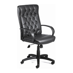 """BOSS Chair - High Back Leather Desk Chair In Black w Butto - Color: BlackElegantly fashioned office chair brings together fine elements of traditional styling and modern, ergonomic design. Button-tufted, high back design exudes classic grace, while the stylish arm rests and adjustable height and tension tilt features make no compromise on comfort. This swivel chair updates your modern office with traditional flair. Deep button-tufted back cushions. Provides look of elegance with traditional styling. Large 27"""" nylon base for greater stability. Hooded double wheel casters. Upright locking position. Pneumatic gas lift seat height adjustment. Adjustable tilt tension control). Cushion color: Black. Base/wood: Black. Seat size: 20.5 in. W x 20 in. D. Seat height: 19 in. -23 in. H. Arm height: 26.5 in. -30 in. H. Overall dimension: 27 in. W x 27 in. D x 43-47 in. H. Weight capacity: 250 lbs"""