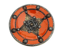 Pre-owned Orange Moroccan Plate with Berber Engravings - This handcrafted decorative glazed ceramic plate is stunning! This piece has fabulous details and features ornate Berber metal engravings. Two holes on the reverse for hanging.