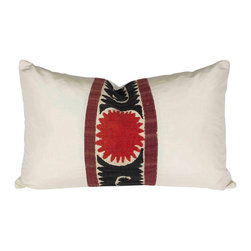 De-Cor - Suzani Silk Pillow - Magnificent silk suzani pillow. Pillow is custom made from a border of a Vintage suzani Throw and smooth silk fabric. Hidden zipper on top and down filler.
