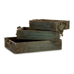 """IMAX - Northfork Wood Trays - Set of 3 - Set of three weathered blue trays with rope handles in graduating sizes. Item Dimensions: (3.5-4-4.5""""h x 15-18-21.25""""w x 10-11.75-13.75"""")"""