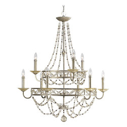 Progress Lighting - Progress Lighting P4444-34 9-Light Chandelier with Matching Hand Painted Candle - Progress Lighting P4444-34 9-Light Chandelier with Matching Hand Painted Candle Sleeves Glass Beads
