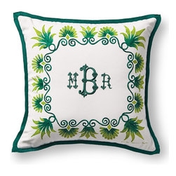 Frontgate - Anthemion Monogrammed Green Outdoor Pillow - 100% solution-dyed acrylic cover. Spot clean with mild soap and water; air-dry only. High-density polyester fill. Zipper closure. Coordinates with the Anthemion Lumbar Pillow and the Medallion Pillow. The plush Outdoor Anthemion Monogram Pillow features a majestic Anthemion-inspired frame and can be personalized with your monogram. The high-density polyester fill means you can enjoy this super soft pillow for years to come.  .  .  .  .  . Made in the USA. Please note: Personalized items are non-returnable.