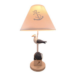 Nautical Seagull on Buoy Table Lamp with Shade 25 In. - This blue and white seagull and buoy lamp is a wonderful addition to rooms with a nautical theme. The lamp is 25 inches tall, has a 7 inch diameter wooden base, and comes with a coordinating 13 inch diameter fabric shade. The lamp has a 5 foot long white power cord and uses a 75 watt (max) type A bulb (not included). The lamp is hand painted and has a lightly distressed finish.