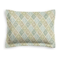 Green Diamond Block Print Custom Sham - The Simple Sham may be basic, but it won't be boring!  Layer these luxurious reversible shams in various styles for a bed you'll want to fall right into. We love it in this hand printed diamond pattern in shades of green from emerald to peridot. Artisan flare for any style home.