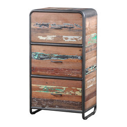 Artemano - Recycled Boat Wood Storage Cabinet - Made from dismantled boats wrecks, this three-drawer dresser gives new life to resilient materials that have withstood years of rough waters. To go along with the recycled boat wood, this Industrial Style Drawer Cabinet has a rounded, metal frame with a matching metal handle centered on each drawer. To pay homage to its previous life, we carefully preserve each paint mark, dent, crack and hole acquired throughout its years at sea.  Place this one-of-a-kind dresser in your bedroom for bedding and linens, in the dining room for your dinnerware or in your home office for extra storage space.