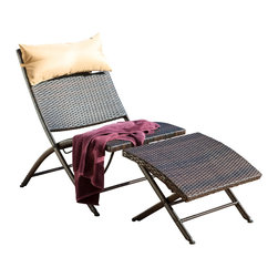 Great Deal Furniture - Selma Outdoor Lounge Chair and Ottoman - Relax in the Selma lounge chair, complete with a throw pillow for added comfort and a matching ottoman. This unique piece has modern touches and is adjustable for your reclining preference.
