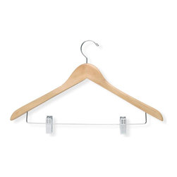 Honey Can Do - 12 Pack Basic Suit Hanger w Clips, Maple Fini - For suits, pants, skirts. 17.5 in. x 9.75 in.