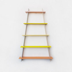 Ladder Frame, Sun-bleached Yellows - I love the lines and colors of this beautiful shelving unit.