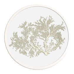 Framed Sea Fan 24 Round in White - Choose a wall in your home with an intriguing color and bring that favorite shade to life by hanging a round sea fan artwork on it.  Authentic sea fans are carefully selected and prepared to serve as the focal of these artworks, then pressed between panes of glass to preserve and display them.  A hand-finished silver frame surrounds the sea fan, letting you enjoy oceanic texture along with the unique pleasure and appeal of round wall art.