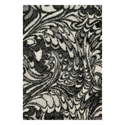 """Loloi Rugs - Loloi Rugs Cosma Collection - Charcoal / Ivory, 3'-9"""" x 5'-6"""" - A room with a point of view; that's what you get with the Cosma Collection. Power-loomed in Egypt of polypropylene and polyester, Cosma's shaggy stripes, diamond and other intricate patterns come alive with energetic movement, and buzz with vivid colors. Your home will, too."""