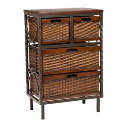Safavieh - Andrew 4 Drawer Storage Unit - Frank Lloyd Wright might have stored his sketchbooks in this modern organic masterpiece. The Andrew Storage Unit boasts delicate details carved into sumptuously finished mahogany wood with dark walnut finish, paired with the rich rattan-style texture of four storage bins.