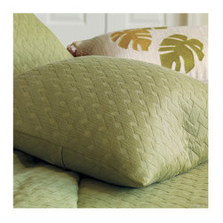 """Frontgate - Briseyda Decorative Pillow - From Eastern Accents. Choose from neutral, warm tones of indigo, palm, sand, and shell. Machine washable. Briseyda Decorative Pillow (77323): 18"""" sq.. Because this bedding is specially made to order, please allow 4-6 weeks for delivery.. Our Briseyda Bedding Collection introduces your bed to the breezy elegance of 100% cotton European matelasse, with lofty dimension and varied textures. Completely machine washable, these items become even softer over time.  .  .  . . . Made in Italy. Part of the Briseyda Bedding Collection."""