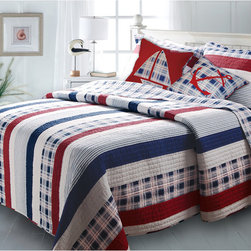None - Nautical Stripes 5-piece Bonus Quilt Set - Answer the call of the sea with this nifty nautical quilt set in red, white, and blue. The set includes two shams, two decorative pillows, and a reversible quilt so you can dress your bed in style. It's machine washable, so it's easy to keep it clean.
