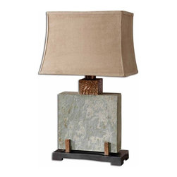 Uttermost - Indoor Outdoor Lamp Slate Square, Table Lamp - This indoor/outdoor lamp is made of real hand carved slate with hammered copper details