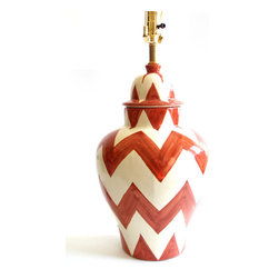 Burnt Orange Zig Zag Lamp - This is so, so cute. I love the hand-painted look of this zigzag lamp. I would use it in a nursery, or any other room in the house.