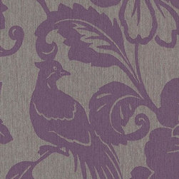 Romosa Wallcoverings - Gray / Purple Modern Floral Spring Garden Wallpaper - -  Paste The Wall. Super Washable. Good Light Fastness. Strippable.