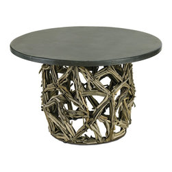 Currey and Company - Montauk Round Coffee Table - Natural driftwood table is topped with a steel surface. The Montauk Collection displays the perfect harmony of modern materials mixed with natural elements.