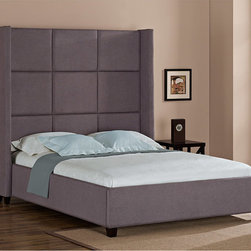 None - Jillian Upholstered Queen Bed - Enhance your bedroom with this gray upholstered polyester queen-size bed. With its sturdy side rails, mattress supportive cross slats, a black finish, and slightly textured fabric, this bed is sturdy, durable, and aesthetically pleasing.