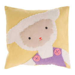 Kata Golda - Pillow - Lamb, Girl - Kata Golda's down pillow features a removable canvas slipcase that's decorated with a hand-stitched wool felt animal design. The hand-embroidered details make each pillow unique.Care: Gently spot wash with cold water by hand. Detergents can cause the wool to fade, so use caution and test in an inconspicuous area first.  Do not place items in the dryer; they will shrink.