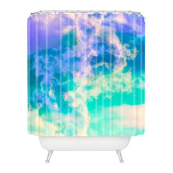 DENY Designs - Caleb Troy Mountain Meadow Painted Clouds Shower Curtain - Who says bathrooms can't be fun? To get the most bang for your buck, start with an artistic, inventive shower curtain. We've got endless options that will really make your bathroom pop. Heck, your guests may start spending a little extra time in there because of it!