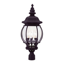 Livex Lighting - Livex Lighting 7703-04 Outdoor Post Head - Glass Type/Shade Type: Clear Beveled Glass