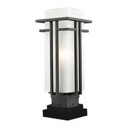 Z-Lite - Z-Lite 549PHM-SQPM-BK Abbey Outdoor Pier Mount Light - The geometric lines of the Abbey family combine well with contemporary home styling as well as homes in the craftsmen style. This medium outdoor pier mount fixture is made of steel and