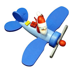 Alexander Taron - Alexander Taron Christian Ulbricht Ornament - Santa in Plane - 2H x 4.75W x 4D - Christian Ulbricht hanging ornament - Santa with goggles in blue airplane - Made in Germany.
