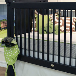 """Soho Collection - The Doodlefish Premium Crib Sheet is a must for the perfect """"bumperless"""" nursery. The sheet is in our soft cotton White Twill, corded in Leaf Twill with Brown Stripe on the sides. Pair this sheet with the Soho crib skirt and accessories for a designer inspired nursery."""