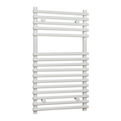 Hudson Reed - Flat White Bar on Bar Hydronic Towel Warmer Radiator Rail 29.5 x 17.75 - Flat White Bar on Bar Heated Towel Rail  Dimensions: 29½ inch High x 17¾ inch Wide Output: 835 BTU's / 245 Watts Pipe Centres: 16 Number of cross-bars: 16 divided into 2 sections of 5 and 11 Fixing Pack Included Tested to BS EN442  Please Note: Our radiators are designed for forced circulation closed loop systems only. They are not compatible with open loop, gravity hot water or steam systems.