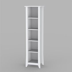 Nexera - Vice Versa 60 in. Slim Bookcase in White Fini - Stylish and slim . 3 Adjustable shelves . Construction details on top . Used as a stand alone decorative piece . Made of melamine material. White lacquer finish. Assembly required. 15.75 in. L x 13.75 in. W x 60 in. H (45 lbs.)Why decide between two furniture styles when you can have both?  With the Vice Versa Collection from Nexera, you get the best of both worlds; a contemporary collection with a traditional flip side to it.  All you have to do is flip the white lacquered door inserts to give your furniture a traditional or contemporary flare to it.  The Vice Versa Collection features a rich white textured lacquer finish, 2 sided doors, tempered legs, and metal handles and glides. Can be paired with one of the 2 TV Consoles for more storage capacity.